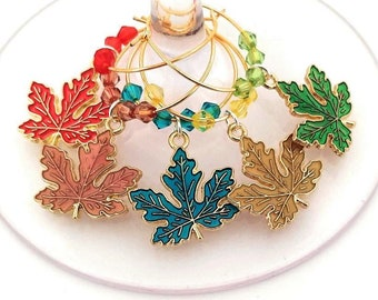 Thanksgiving Wine Charms Autumn Leaves - Maple Leaves Gold Tone - Pack Of 5 - Party Favor Packaging Option Available