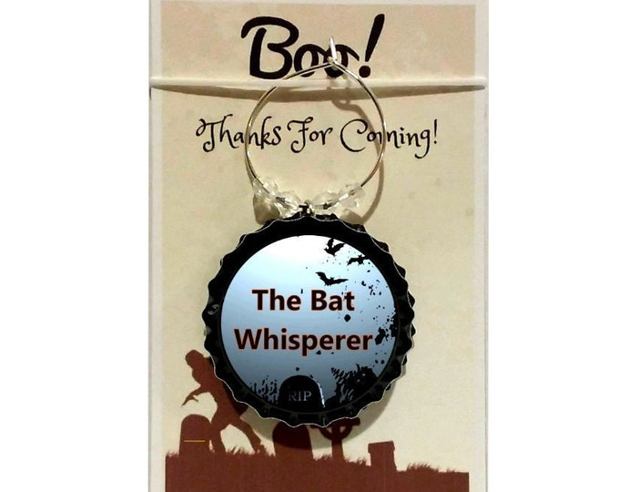 Halloween Wine Charms - The Bat Whisperer - quantity starts at 8 count