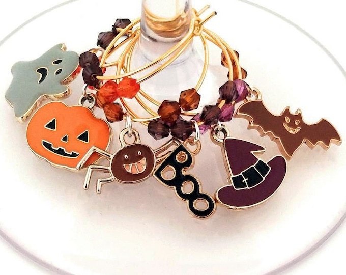 Halloween Wine Charms - Enamel Creepy Fun Halloween Wine Charms 6/pack