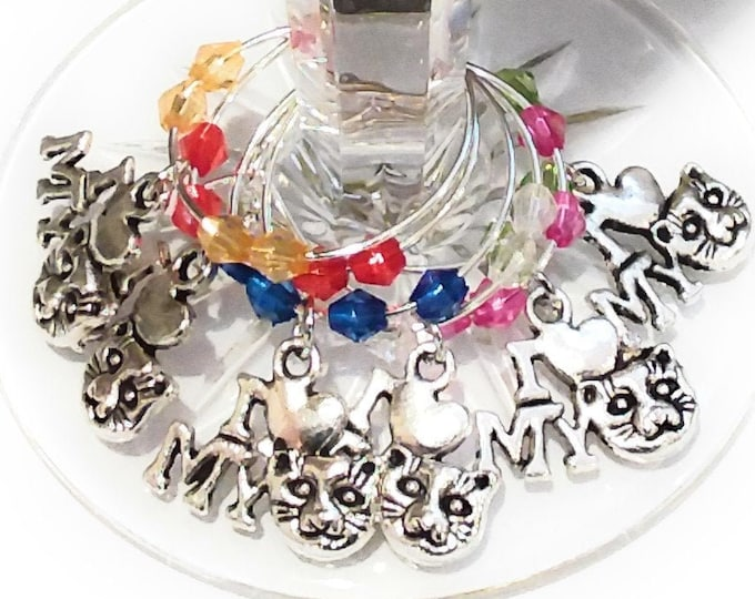 I Love My Cat Wine Charms - Set Of 6
