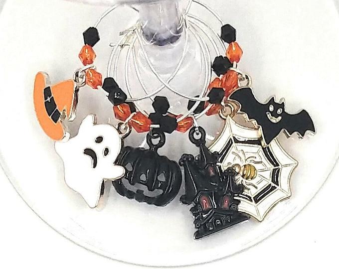 Halloween Wine Charms - Enamel Haunted Halloween Wine Charms 6/pack