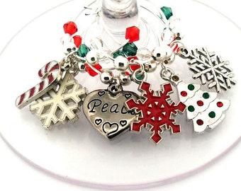 Christmas Wine Charms -  Peace - 6 Per Set