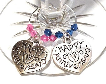 Anniversary Wine Charms - His and Hers Wine Charms - Set Of 2