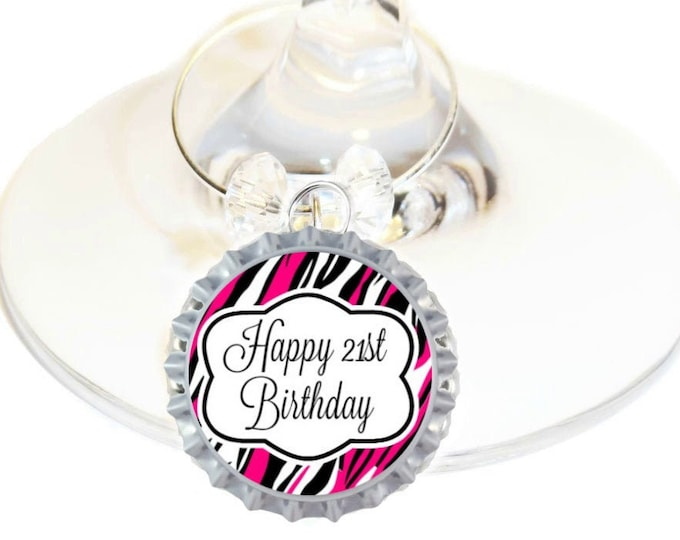 21st Birthday Bottle Cap Wine Charms - Pink Pack of 10