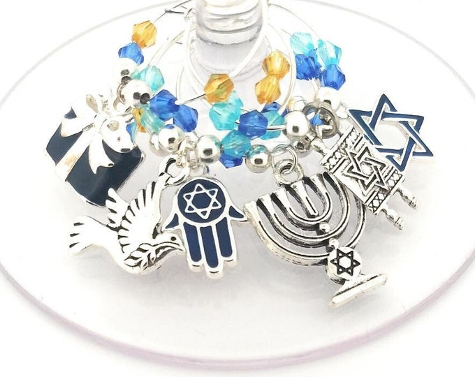 Hanukkah Blue Wine Charms Gift - 6 pack