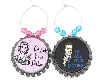 Mother's Day and Father's Day Wine Charm Gift For Mom - Ask Your Parents - Bottle Cap 2/pack