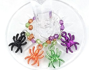 Halloween Spider Wine Charms - 4/Pack