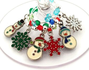 Christmas Wine Charms - Snowman Wine Charms - 6 pack
