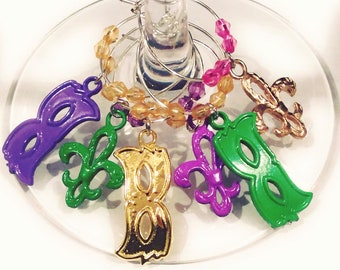 Mardi Gras Wine Charm - Masks and Fleur De Lis/6 pack