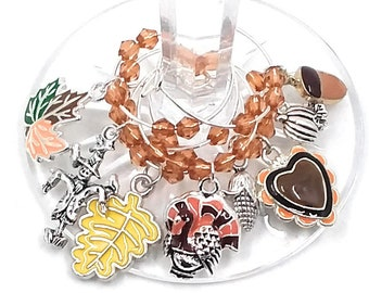 Thanksgiving Wine Charms - Enamel Fall Colors 6/pack