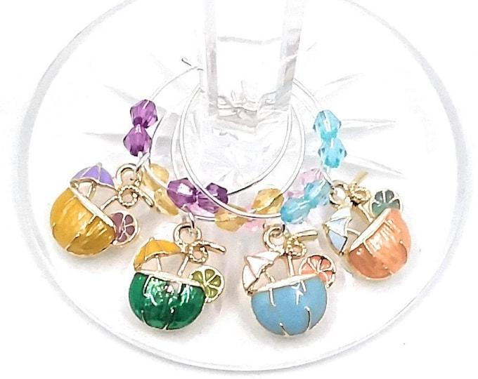 Tiki Glass Charms For Backyard Luau Party - 4 Per Set