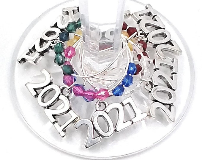 New Years Eve Wine Charms, 2021 - 6 Pack - Party Favor Packaging Option Available