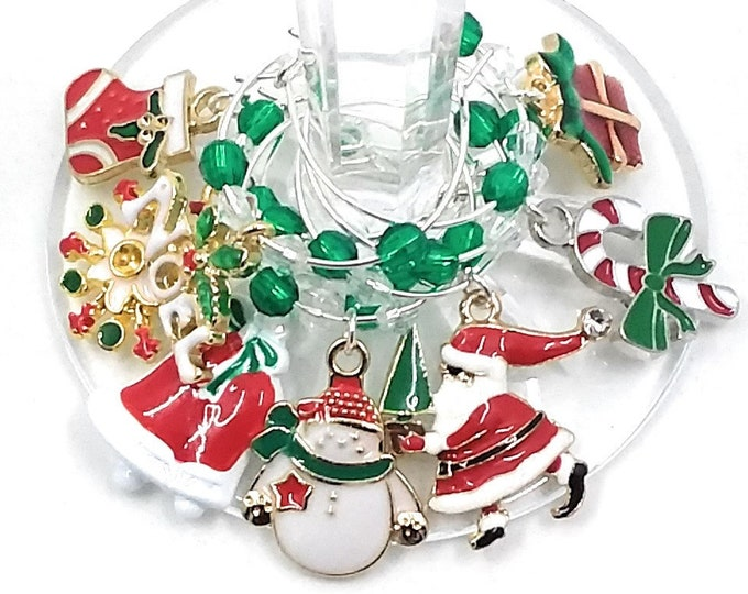 Christmas FUN Wine Charms - 8/Pack - Party Favor Packaging Option Available