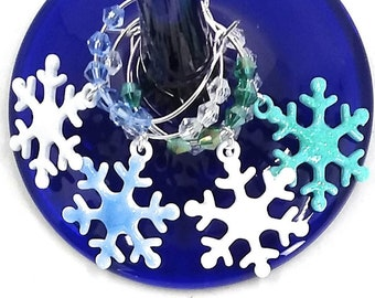 Hanukkah or Christmas Wine Charms - Snowflakes Winter Fun, 6 pack - Party Favor Packaging Option Available
