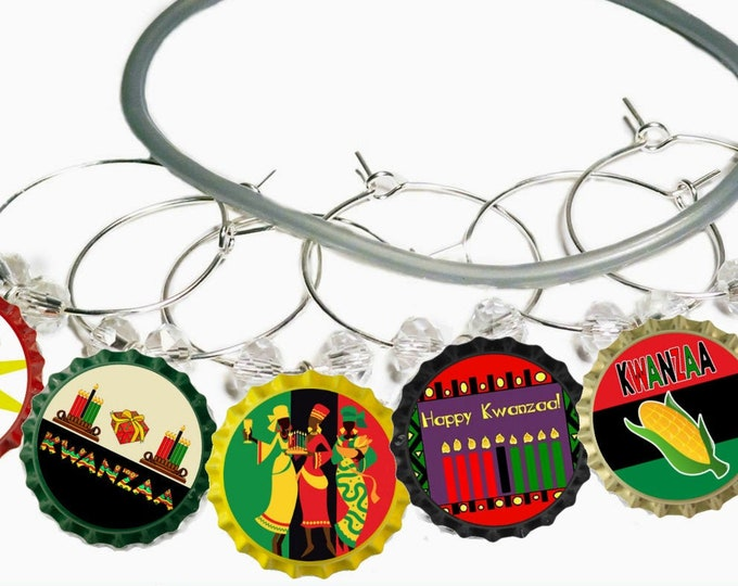 Kwanzaa Wine Charms Gift - Kwanzaa Party Supplies - Bottle Cap 6 pack