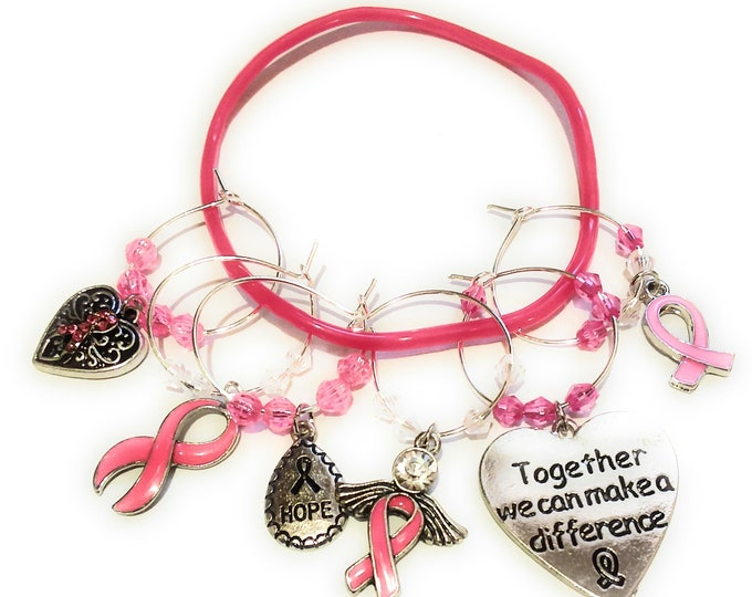 Breast Cancer Awareness Wine Charms - 6/pack