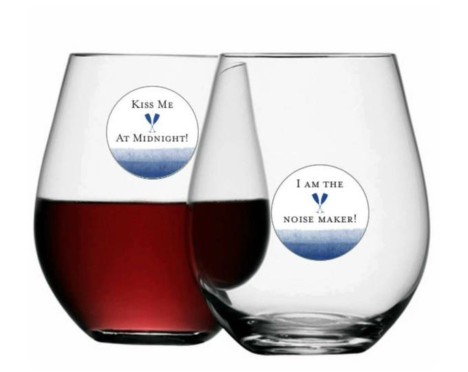 New Years Eve Wine Glass Decals Disposable, Bling It On - 12 Pack - Glass Not included