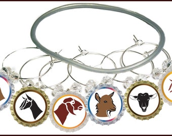 Goat Themed Wine Charms Glass Tag Identifiers - 8 Per Set