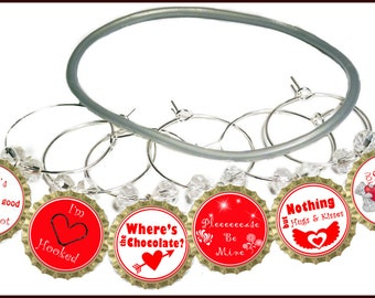 Valentine's Day Gift Wine Charms - Where's The Chocolate - Will Include Gift Tag And Gift Bag 6/pack