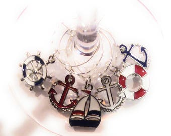 Nautical Wine Charms - Memorial Day/Independence Day - 6 per set