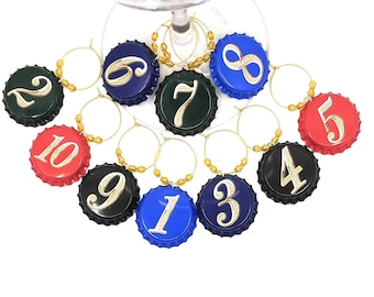 Number Wine Charms - 10 Per Set