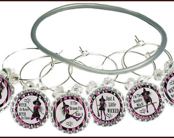 Halloween Bottle Cap Wine Charms - Wicked Never Looked So Good - 6 pack