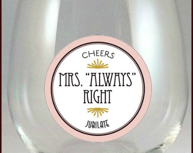 Mr. and Mrs. Wine Glass Decals - Tags,  Reusable - Glass Not included 2/pack