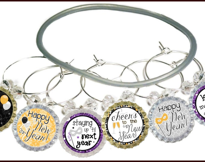 New Years Eve Wine Charms, Kiss Me at Midnight - 8 Pack - Party Favor Packaging Option Available