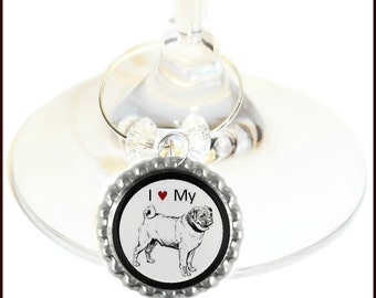 Pug Dog Wine Charms - Choose from 15 breeds - Set Of 6 - Collies, Dachshund, Chihuahua, Bulldog, Boxer, Terrier, Beagle, Cocker Spaniel Etc.
