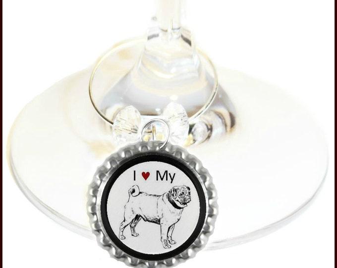 Pug Dog Wine Charms - Choose from 15 breeds - Set Of 6 - Collies, Dachshund, Chihuahua, Bulldog, Boxer, Terrier, Beagle, Cocker Spaniel Etc.