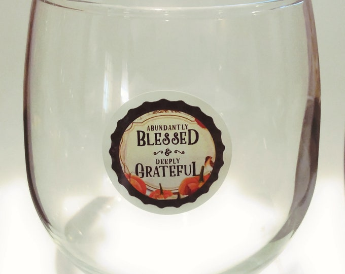 Thanksgiving Dinner Blessed and Grateful Glass Decals - Glass Not included - 12 pack-1.25""
