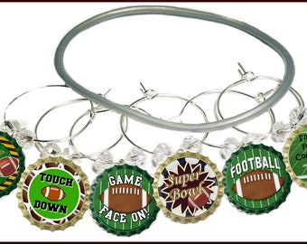 Super Bowl Wine Charms - Game Face On 9/Pack