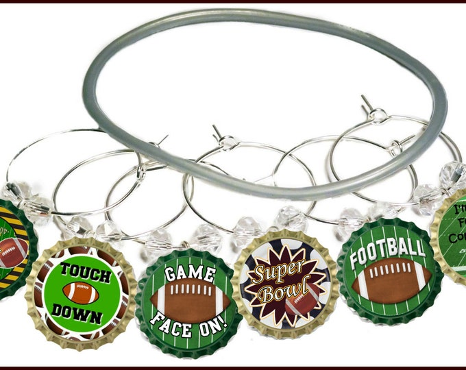 Superbowl Wine Charms - Game Face On 9/Pack