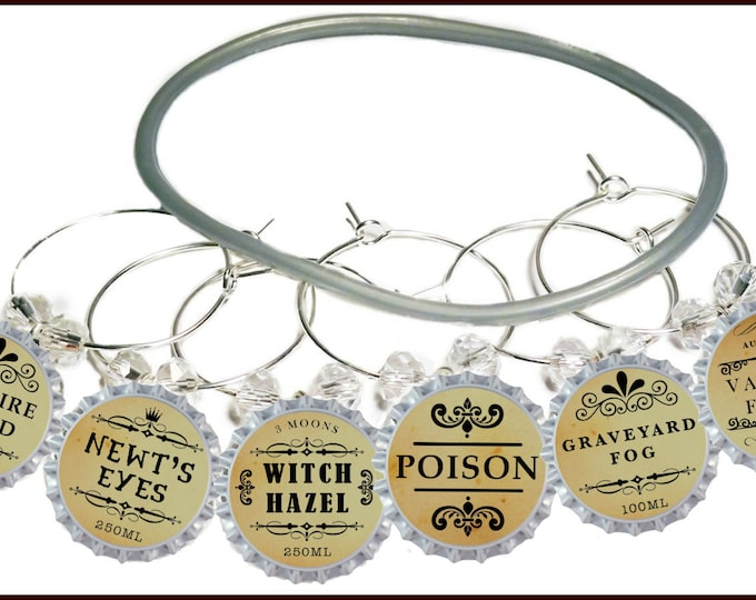 Halloween Bottle Cap Wine Charms - Newts Eyes - 6 Pack