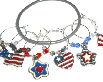 Fourth Of July Wine Charms - Independence Day/July 4th - Pack of 6