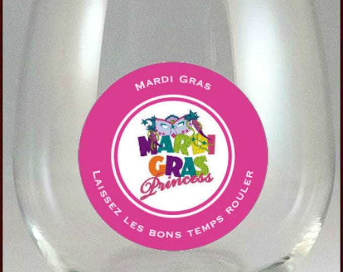 Mardi Gras Glass Decals - Mardi Gras Party Favors - Glass Not Included,  pack
