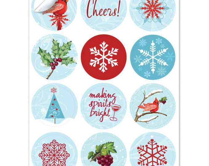 Holiday Winter Cardinal Wine Glass Decals -1 Inch Round Reusable - Glass Not included, 12 Per Pack