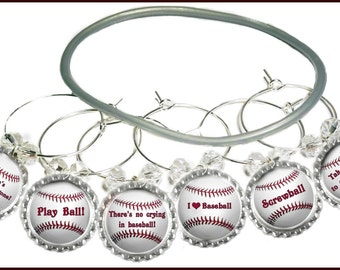 Baseball Wine Charms, Softball Wine Charms - 6/set