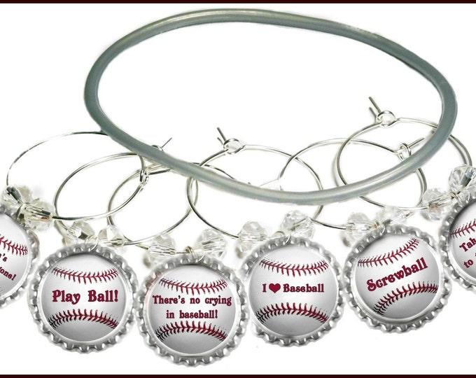 Baseball Wine Charms, Softball Wine Charms - 6/set