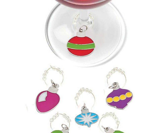 Christmas Ornament Wine Charms - Pack Of 6
