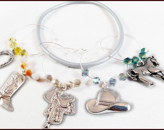 Horse Themed Wine Charms - 5 Per Set