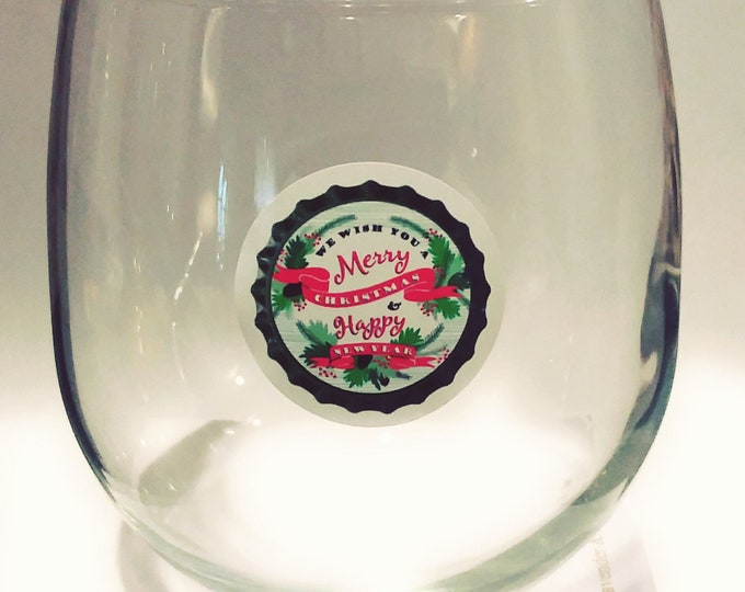 Merry Christmas Glass Decals - Glass Not included - 12 pack-1.25""