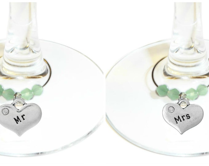 Mr. And Mrs. Wine Charms Silver Hearts - Pack Of 2