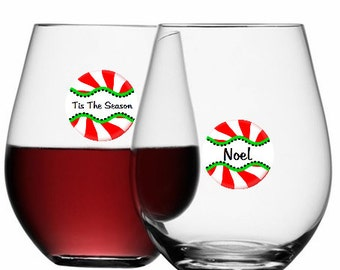 Christmas Wine Glass Dots -  Peppermint Twist Disposable 12 Pack, Glass Not Included