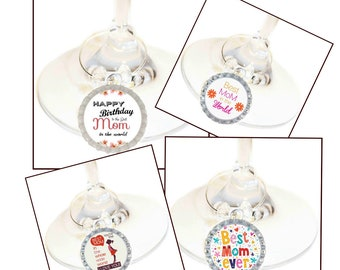 Birthday Wine Charm Gift For Mom - Bottle Cap -Choose your bead color - 4/pack