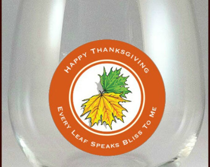 Thanksgiving Glass Decals 2 inch Round - Pack Of 9 - Glass Not included
