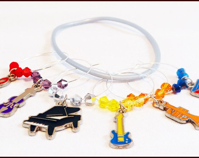 Music Wine Charms - Gift For Musicians - 6 pack