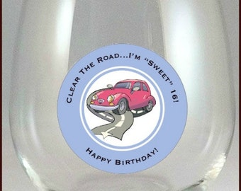 16th Birthday Glass Decals -  Sweet 16 - 10 Pack, Glass Not included