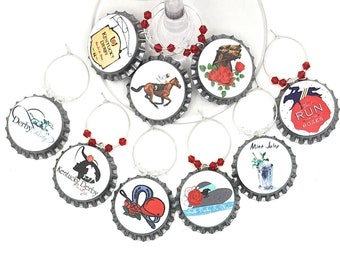 Kentucky Derby Bottle Cap Wine Charms, Glass Tags, 9 pack - Glass Not included