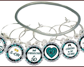 50th Birthday Bottle Cap Wine Charms - Pack of 8